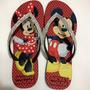 Chinelo Havaianas Personalizada Mickey Minnie Com Strass.