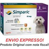 Simparic 10mg Antipulgas E Carrapatos Cães 2,6 A 5kg C/3comp