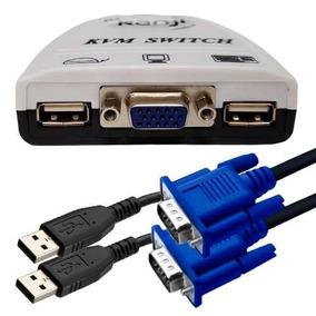 Kvm Switch Kanji 2 Puertos Usb Auto Con Cables + Vga Auto
