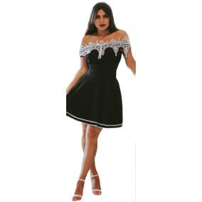 Vestido Curto Feminino Detalhe Em Renda Guipir Lindo Festa