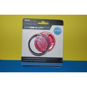 Filtro Uv 52mm Y Tapa Para Lente Rosa Vivitar