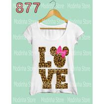Camiseta Feminina Love Oncinha Minnie Mickey Moda Roupa
