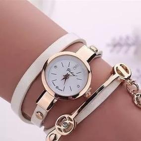 Relógio Feminino Branco Pulseira De Couro Bracelete Strass