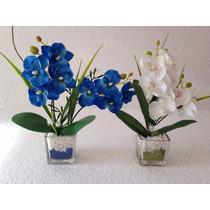 Mini Arranjo De Flores Artificiais, Em Base De Vidro Par