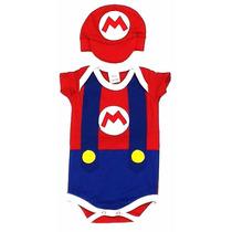 Body Super Mario Bros + Boné Fantasia Bebê Herói Nintendo