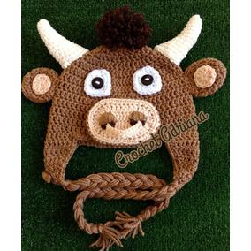 Gorro Toro Color Camel Crochet Bebés, Niños Y Adultos