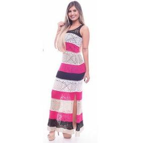 Vestido Longo Estampado De Malha Tricot Trico Promoção