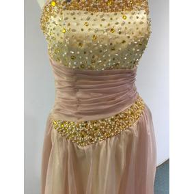Vestido De 15 Años Color Crema Dorado Nude Y Rosa Bordado