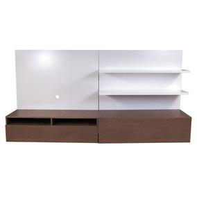 Mueble Para Tv Minimalista Neo Con Cajon Y 2 Repisas Blanco