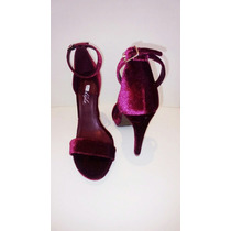 Sapato Feminino Sandália De Veludo