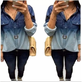 Camisa Blusa Feminina Jeans 2 Cores Degrade Preço Baixo!!