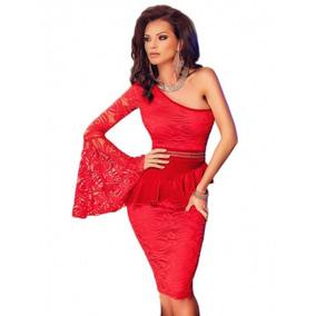 Vestido Rojo Fiesta Corto Una Manga Envío Gratis