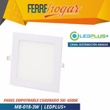Lampara Led Panel Empotrable Cuadrado 3w- 6500k Ledplus+