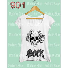 Blusa Feminina Caveira Rock Estampa Skull Moda Estilo Roupa