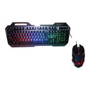 Kit Gamer Teclado Semi Mecânico E Mouse Led Rgb 2400 Dpi