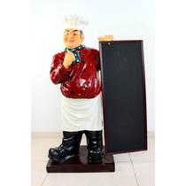 Escultura Grande Decorativa Chef De Cozinha Lindos Detalhes