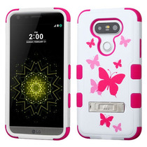 Funda Protector Triple Layer Lg G5 Blanco / Mariposas C/pie