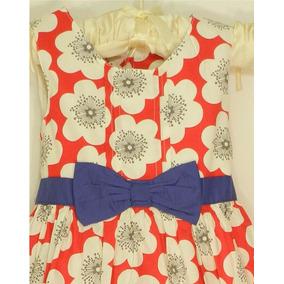Vestido Niña Flores Rojo Talla 3 Y 4 Años Envio Gratis