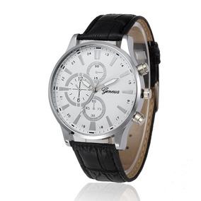 Relógio Masculino Original Geneva Luxo Pulseira Couro Social