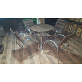 Mesa Com Cadeiras Alumínio Vime Sintético Ratam Junco