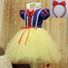 Fantasia Vestido Infantil Branca De Neve + Arco