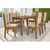 Mesa De Jantar Retangular Florença Com 6 Cadeiras-cor Demol