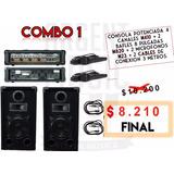Sonido Quincho Casa Quinta Consola 4ch + 2 Bafles + 2 Mic
