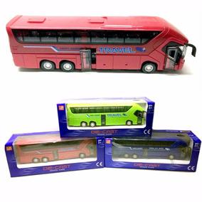 Ônibus Passageiro Bus Tur Miniatura Metal 1/50 Luzes Cores