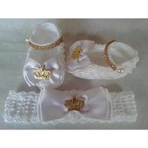 Sapatinho De Crochê Princesa Mais Tiara Trabalhada,promoção