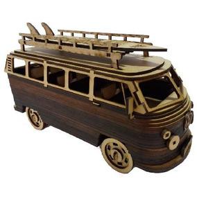 Carro Carrinho Antigo 3d Miniatura Kombi Surf Aloha Mdf