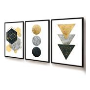 Quadro Decorativo Moldura Sala Jogo Geométrico Ouro