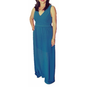 Vestido De Fiesta Largo Azul Talla Ch O M Envio Gratis