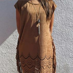 Vestido Corto Gamuza Calado Con Flecos Bohemio Folk Mujer