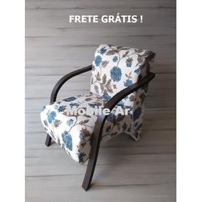 Poltrona Decorativa, Cadeira Braços Madeira Sem O Puf