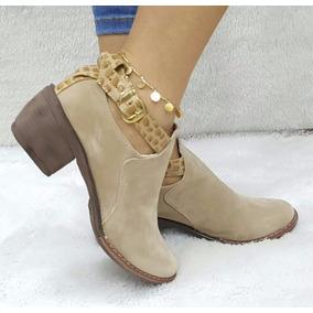 Zapato Tacón Bota Botin Texana Calzado Mujer Dama Beis Beige