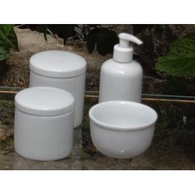 Kit Higiene Bebê Porcelana Branca 04 Pçs Potes Cumbuca