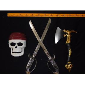 02 Espadas 01 Machado E 01 Mascara Caveira Infantil Pirata
