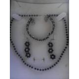 Collar,pulsera Y Zarcillos Confeccion De Plata Y Swaroski