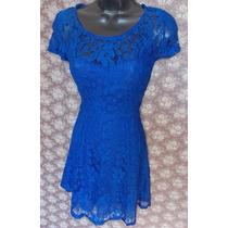 Vestido Todo Em Renda Alta Qualidade Festa Azul Royal
