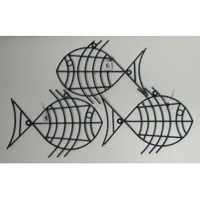 Quadro Parede Formato Peixe Em Ferro Luxo 3 Pçs Jardim Edic