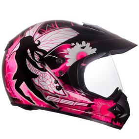 Capacete Moto Ebf Feminino Cross Fechado Tam 58