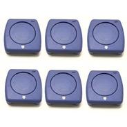 Kit Com 06 Porta Copos Dobráveis Retrátil Azul Uso Universal