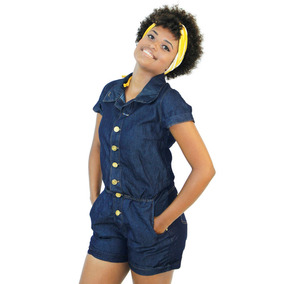 Macaquinho Jeans Feminino C/ Elástico - Oferta