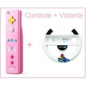 Controle Wii U Remote Motion + Volante + Case Wii Princesa