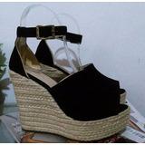 Calzado Elegante Alto Sandalia Negra Plataforma Yute De Moda