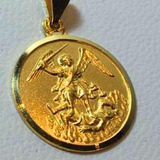Medalla San Miguel Argangel Oro 18 K Garant. 17 Mm Diam.