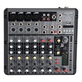 Mesa De Som Custom K8 8 Canais 4 Xlr + Efeitos + Usb . Loja