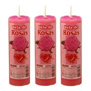 3 Velas Votiva Aroma Rosas Aromática Paixão Amor Perfumada