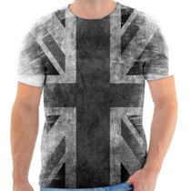 Camisa Camiseta Bandeira Da Inglaterra Preto E Branco