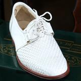 Zapatos De Cuero Trenzado Blanco - Base Suela -talle 40 Y 41